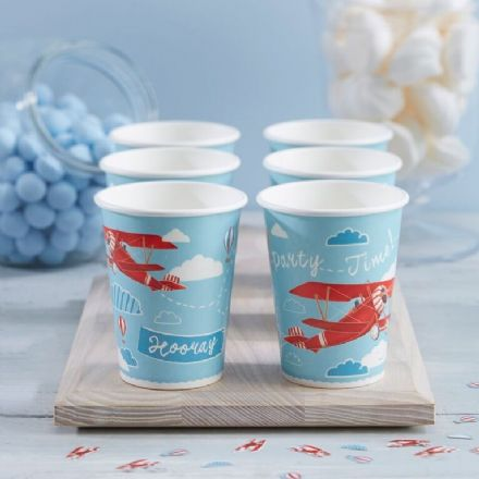 Vintage Red Planes Cups - pack of 8